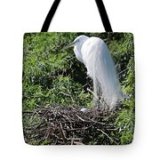 Nesting Great Egret With Egg Tote Bag