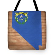 Nevada Rustic Map On Wood Tote Bag