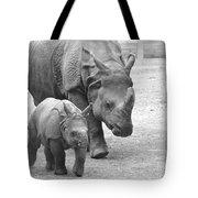 New Born Rhino And Mom Tote Bag