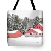 New England Farm With Red Barns In Winter Tote Bag