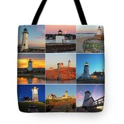 New England Lighthouse Collage Tote Bag