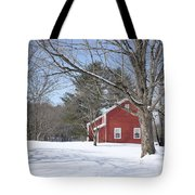 New England Red House Winter Tote Bag