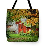 New England Rustic - New England Fall Landscape Red Barn Tote Bag