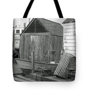 New England Wharf Scene In Black And White Tote Bag