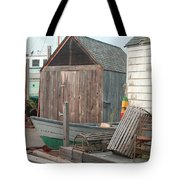 New England Wharf Scene Tote Bag