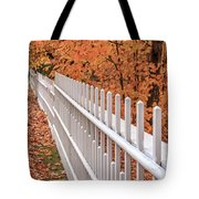 New England White Picket Fence With Fall Foliage Tote Bag