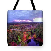 New Hampshire Fall Sunset Over Pond Tote Bag