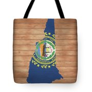 New Hampshire Rustic Map On Wood Tote Bag