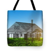 New House Wireframe Project On Green Field Tote Bag