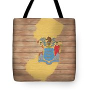 New Jersey Rustic Map On Wood Tote Bag
