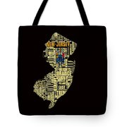 New Jersey Typographic Map 4g Tote Bag