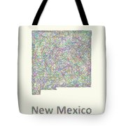 New Mexico Line Art Map Tote Bag