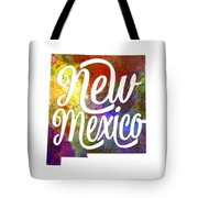 New Mexico Us State In Watercolor Text Cut Out Tote Bag