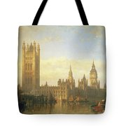 New Palace Of Westminster From The River Thames Tote Bag by David Roberts