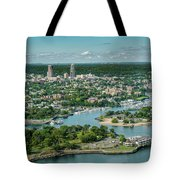 New Rochelle From The Long Island Sound Tote Bag