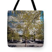 Trees On Fed Plaza Tote Bag by Mike Evangelist