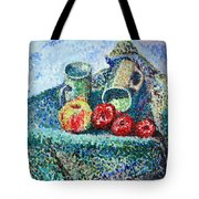 New Work Painted In Pointillism  Tote Bag