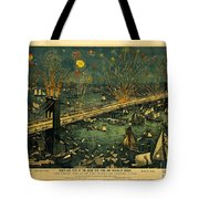 New York And Brooklyn Bridge Opening Night Fireworks Tote Bag