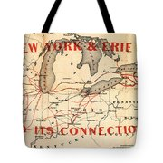 New York And Erie Railroad Map 1855 Tote Bag