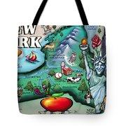 New York Cartoon Map Tote Bag