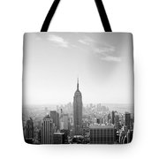 New York City - Empire State Building Panorama Black And White Tote Bag