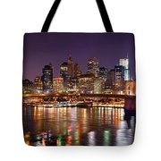 New York City Brooklyn Bridge And Lower Manhattan At Night Nyc Tote Bag