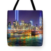 New York City Brooklyn Bridge Tribute In Lights Freedom Tower World Trade Center Wtc Manhattan Nyc Tote Bag