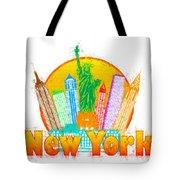 New York City Colorful Skyline In Circle Impressionist Illustrat Tote Bag