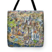New York City Illustrated Map Tote Bag