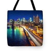 New York City Lights Blue Tote Bag