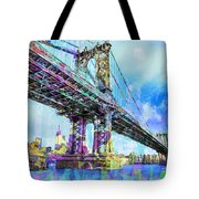 New York City Manhattan Bridge Blue Tote Bag