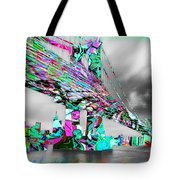 New York City Manhattan Bridge Pure Pop Green Tote Bag
