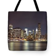New York City - Manhattan Waterfront At Night Tote Bag