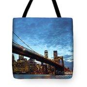New York City Skyline By Night Tote Bag