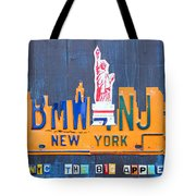 New York City Skyline License Plate Art Tote Bag by Design Turnpike