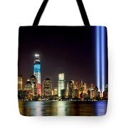 New York City Skyline Tribute In Lights And Lower Manhattan At Night Nyc Tote Bag