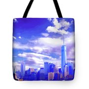 New York City Skyline With Freedom Tower Tote Bag