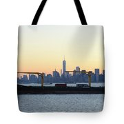 New York City Skyline With Passing Container Ship Tote Bag