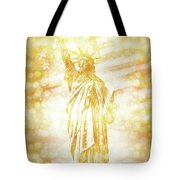 New York City Statue Of Liberty With American Banner - Golden Painting Tote Bag