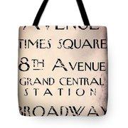 New York City Street Sign Tote Bag