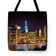New York City Tribute In Lights And Lower Manhattan At Night Nyc Tote Bag