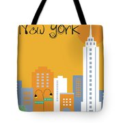 New York City Vertical Skyline - Empire State At Dawn Tote Bag