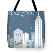 New York City Vertical Skyline - Empire State At Dusk Tote Bag