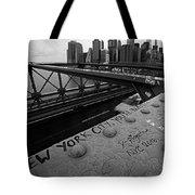 New York City You're Beautiful Brooklyn Bridge Ny Black And White Tote Bag