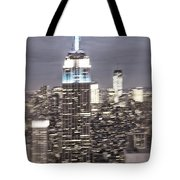 New York Empire State Building Blurred  Tote Bag