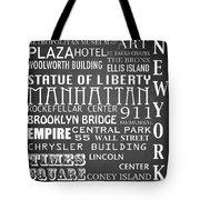 New York Famous Landmarks Tote Bag