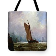 New York Harbor With The Brooklyn Bridge Under Construction Tote Bag