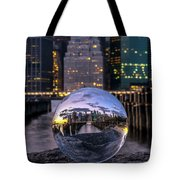 New York In Glass Ball Tote Bag