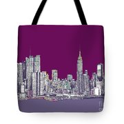 New York In Purple Tote Bag by Adendorff Design
