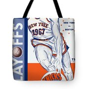 New York Knicks V Boston 1967 Playoff Program Tote Bag